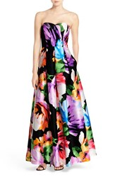 Women's Ellen Tracy Floral Print Strapless Gown