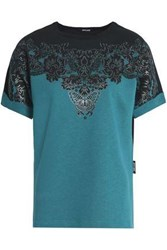 Just Cavalli Printed French Cotton Blend Terry Top Teal