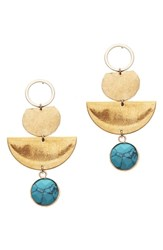Nakamol Design Hammered Brass And Simulated Turquoise Drop Earrings
