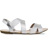 Office Bermuda Metallic Slingback Sandals Silver