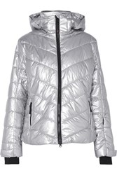 Bogner Fire And Ice Sassy2 Hooded Quilted Metallic Shell Ski Jacket Silver
