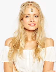 Asos Stone Drop Chain Headband Gold