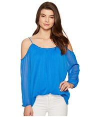 Kensie Crinkle Chiffon Top Ks5k4302 Vivid Blue Women's Clothing