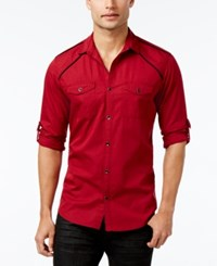 Inc International Concepts Men's Hamlet Dobby Long Sleeve Shirt Only At Macy's Bright Rhubarb