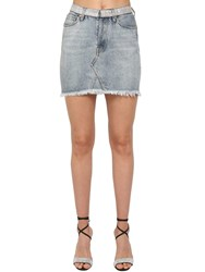 Alexandre Vauthier Crystal Embellished Cotton Denim Skirt Light Blue
