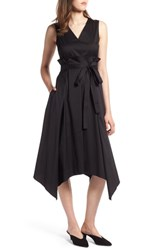 Halogen Sleeveless Poplin Tie Waist Midi Dress Black