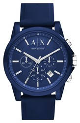 Men's Ax Armani Exchange Chronograph Silicone Strap Watch 44Mm Blue Blue