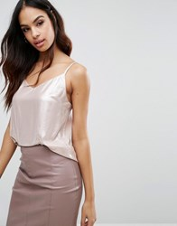 Lipsy Foil Cami Top Nude Pink