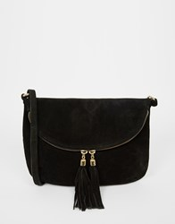 Warehouse Real Suede Cross Body Bag Black