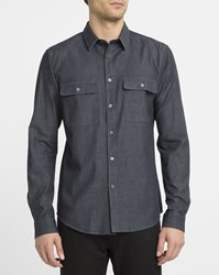 Theory Blue Barham Chest Pockets Light Denim Shirt