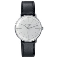 Junghans 027 3700.00 Men's Max Bill Hand Winding Leather Strap Watch Black Grey