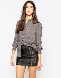 Pepe Jeans Teatime Floral And Stud Shirt Grey