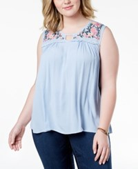 Planet Gold Trendy Plus Size Embroidered Keyhole Top Cashmere Blue