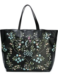 Red Valentino Bead Embroidery Tote Bag Black
