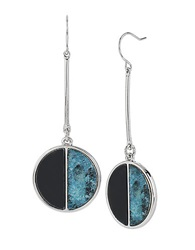 Kenneth Cole Teal Crescent Disc Drop Earrings Blue