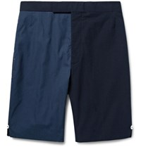 Thom Browne Slim Fit Two Tone Textured Cotton And Seersucker Shorts Midnight Blue