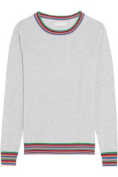 Chinti And Parker Stripe Cuff Cashmere Sweater Gray
