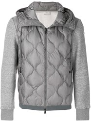 Moncler Quilted Bomber Jacket Cotton Feather Down Polyamide Feather S Grey