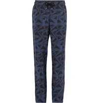 Giorgio Armani Slim Fit Printed Matte Satin Drawstring Trousers Storm Blue