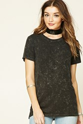 Forever 21 Acid Wash Ribbed Knit Tee