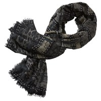 Betty And Co. Long Graphic Scarf Black Dark Green