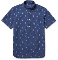 Polo Ralph Lauren Button Down Collar Printed Cotton Shirt Navy