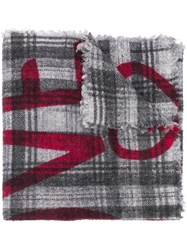 Faliero Sarti Checked Slogan Scarf Grey
