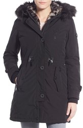 Women's Nanette Lepore Snorkel Parka With Removable Faux Fur Trim Black
