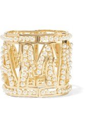 Dolce And Gabbana Gold Tone Faux Pearl Cuff S