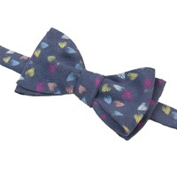 40 Colori Navy Birch Printed Linen Butterfly Bow Tie Blue