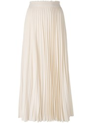 Les Copains Pleated Midi Skirt Women Silk Cotton Elastodiene Viscose 42 Nude Neutrals