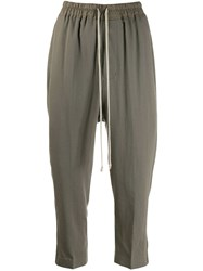 Rick Owens Cropped Drawstring Trousers Grey