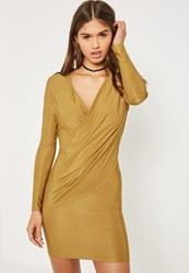 Missguided Green Silky Wrap Bodycon Dress Olive