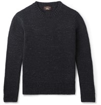 Rrl Melange Cotton Sweater Navy