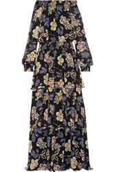 Tory Burch Indie Tiered Printed Silk Georgette Maxi Dress Black