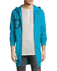 Balmain Embellished Patch Long Zip Front Hoodie Turquoise