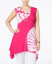 Belldini Plus Size Tie Dyed Lace Up Top Fuschia