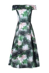 Jolie Moi Bardot Neckline Midi Prom Dress Dark Green