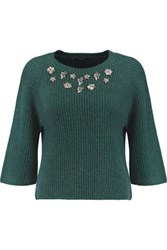 Raoul Crystal Embellished Ribbed Wool And Cashmere Blend Sweater Dark Green
