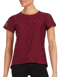 Tommy Hilfiger Floral Lace Short Sleeved Top Merlot