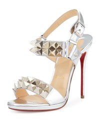 Christian Louboutin Miziggoo Spiked Two Band Red Sole Sandal Silver