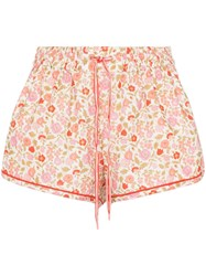 Zimmermann Goldie Floral Print Shorts Red