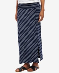 Motherhood Maternity Striped Midi Skirt Navy White Stripe