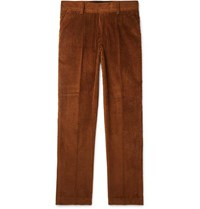 Sandro Tapered Cotton Corduroy Trousers Brown