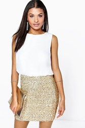 Boohoo 2 In 1 Chiffon Top Sequin Skirt Bodycon Dress Ivory