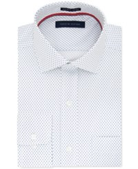 Tommy Hilfiger Men's Classic Regular Fit White Print Dress Shirt