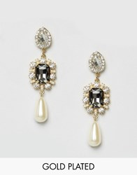 Johnny Loves Rosie Pearl Drop Statement Earrings Pearl Crystal Gold