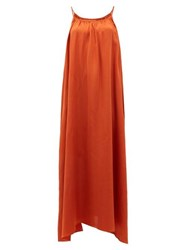 Loup Charmant Amelia Tie Shoulder Silk Maxi Dress Copper