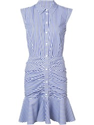 Veronica Beard Striped Ruched Shirt Dress Blue
