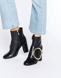 Mango Black Boot With Round Buckle Black